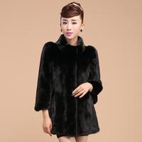 Elegant mink fur dress. white mink fur coat with Chinese mandarin collar three quarter sleeves overcoat