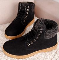 New 2014 winter boots fashion men shoes leather size(40-44)korean warm men sneakers black+brown+khaki+green flats men snow boots