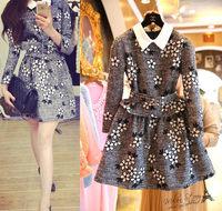 Free shipping 2014 autumn new women clothing set,skirt suit,women elegant turn-down collar floral emboridery coat and skirt