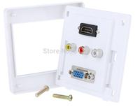 Free shipping 1 x HDMI 1 x VGA 3 x AV Wall Plate Coupler Socket