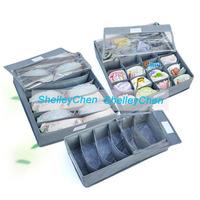 3PCS dust Bamboo Charcoal fibre Storage Box Zipper transparent cover underwear box for bra,underwear,necktie,socks,  jewelry