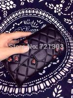 women fashion genuine leather plaid wallet sheepskin clutch channelled wallet bag female Ladybug decorations small bag