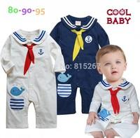 5PCS Newborn Navy Style Baby Boy Girls Long Sleeve Romper Kid's Cartoon Dolphin Sailor Bodysuits Jumpsuit Children Clothing