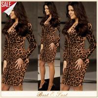 Plus S-2XL Sexy Leopard Celebrity Dress Bandage Bodycon Dress V-Neck Women Autumn Winter Club Dresses Vestido i9009