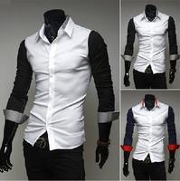 T1119 HOT Spring&Autumn New 2014 Men shirts Mixed color Casual Long-sleeved mens social shirts Korean Slim Fit men's camisas