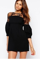 Puff Sleeves Lace Panel Detailed Mini Dress LC21718