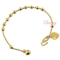 2015 Baby kids Yellow Gold Filled 18k Strands Bracelet Chain Cute Link Heart Bell