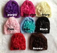 20pcs Dot Chiffon Flower Baby Kids Children crochet Knitted Caps Beanie Hat 8 Color For choose