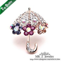 Unique Lovely Colorful Rhinestone Flower Umbrella Christmas Brooch 5pcs/lot Free Shipping
