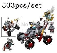 303pcs blocks,original Bela chima ninjago legend building blocks, vs Forces wolf hunt car enlighten bricks toys for children