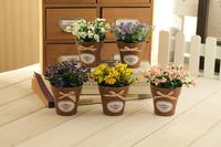 Mini Country Convallaria Artificial Flower Floral Potted Plant Home Decor 1Pc