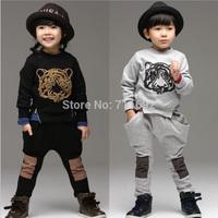 Free shipping 2014 autumn winter new Tiger design big pocket boy girl hoody with  Haren pants kids sport suit