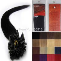"16""-26"" Pre-bonded Nail tip Natural Hair extensions keratin U tip hair extensions weaving Producrs #01 jet black , free shipping"