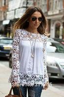 2014 Women Blouses White Plus Size Lace Blouse Blusas Renda Chiffon Shirt Blusa Verao Femininas Folral Long Sleeve Tops HTNCS003