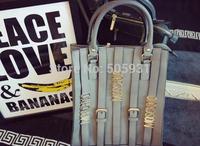 Fashion Metal Logo Handbag Sweet High Quality PU Big Size