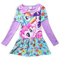3-9Years Big Kids Girls Dress My Little Pony  Spring  Girl Long sleeve Dresses girls princess For My Little Pony Costume