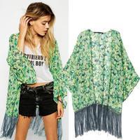 New arrivals Tassel Open stitch Causl fashion Chiffon print fringed kimono Cardigan women's sweater jacket long Cover Up V