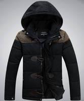 2014  men winter coat for jacket men horn button fashion down cotton men coat outdoor man jacket winter warm for coat men 234B