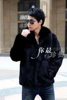 Male 2014 faux fur coat fox fur collar square Men boutique overcoat
