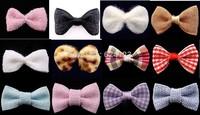 20pcs Cute Nail Art Decoration Handmade Fabric Bows Accessories 12 designs for choice