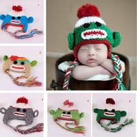 On Sale Baby Girl Boy Crochet Beanies Children Bomber Hat In Winter Cartoon Monkey Skullies Handmade Warm Cap 5 Colors
