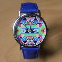 Fashion Geneva Ladies Platinum Native Tribal Print  Women Men Dress Casual Analog Quartz Wrist Watches PU Leather Hot Sell 2014