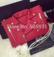 Personality Mortocycle Envelop Clutch Bag Cloth Design PU Red Black