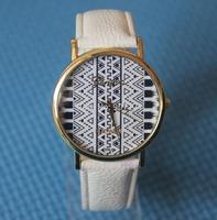 Popular Geneva Ladies Platinum Aztec Print Women Men Dress Casual Analog Quartz Wrist Watches PU Leather Hot Sell 2014