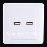 Free shipping 2 x USB Wall Plate Coupler Outlet Socket Panel