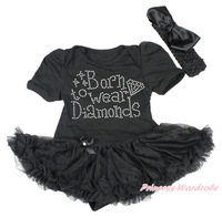 Thanksgiving Born To Wear Diamonds Print Black Bodysuit Black Skirt Girl Baby Dress NB-18Month MAJSA0049