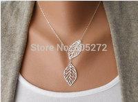 simple leaf slide necklace golden silvery 5pcs/lot