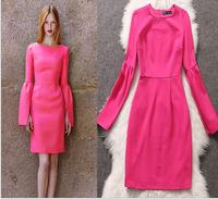 Fashions female winter dress o neck cotton pink lantern sleeve casual dress xl women dresses princess famous brand