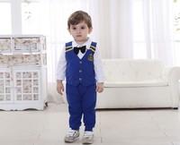 Big sale!  2014 baby boy gentleman cotton outwear normal sets 3pcs(white shirt+ pant+plaid vest) 4Sets/Lot  for free shipping