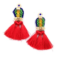 New 2014  hot sell Trend fashion red rope tassel earring vintage design party girl statement Earrings for women jewelry