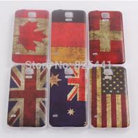 Vintage Retro UK US German Multi National Flag Hard Case For Samsung Galaxy S5 SV I9600 Skin Cover Cases 6 colors 1pcs/lot
