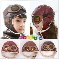 Baby Hats Boys Faux Leather Waterproof Flight/Pilot Caps Children Earmuff,Color:Dark Green,Coffee
