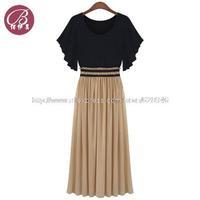 Fashion Plus Size L-4XL Women's Clothing High Waist Ruffle Sleeve Sexy Vintage Long Chiffon Dress Vestir Habiller Free Shipping