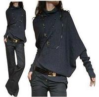 Women Fashion High Collar Irregular Bat Sleeve Knitting Sweater