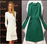 Female winter dress o neck cotton long sleeve plus sizes casual dress xl women evening white/green famous brand office dress