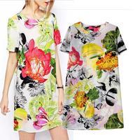 Europe 2014 fall Europe air fluorescent colors the pastoral digital print dresses slim bag hip dress wholesaleV