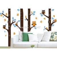 SIA Original Design Christmas Decoration Cartoon Vinyl Wall Sticker Large Tree Owls Bird Nursery Baby Room Decor Home Decoration