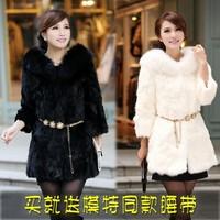 Fur coat medium-long 2014 rex rabbit hair female formal three quarter sleeve