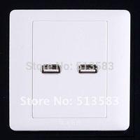 Free shipping wholesale 2 port  USB Wall Plate socket