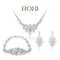 ROXI platinum Big Flower CZ Crystal Set For Girlfriend 100% Hand made Jewelry Set Bracelet+Earrings+Necklace AN
