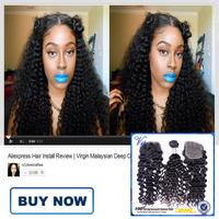 VIP Beauty Hair Malaysian Deep Curly Virgin Hair With Closure 5PCS Malaysian Lace Closure With Kinky Curly Virgin Hair Bundles