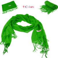 190cm long  with tassels  Cheapest Women Cashmere Scarf Pashmina Style Scarf Shawl Wrap  Fashion Pashmina 70% cashmere Blending