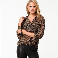 2014 sexy leopard print chiffon blouse loose women fashion shirt Blouses & Shirts free shipping