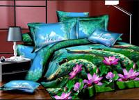 blue green red pink purple flowers rose Lotus Cotton queen size Duvet / Quilt Cover Bedding sets sheet pillowcase