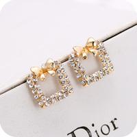 2014 new fashion jewelry/bijous/earrings/brincos for women OLL brand sweet bow earrings CZ diamond ear ring