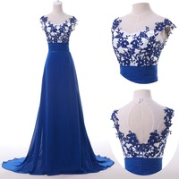 Fast Delivery Real Samples Elegant Blue Prom Dress Long Designer Grace Karin Chiffon Evening Gown Special Occasion Dresses 6147